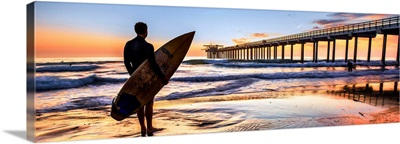 Scripps Pier and Surfer Silhouette at Sunset, La Jolla, San Diego- Panoramic