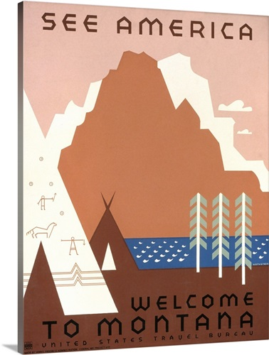 see america welcome to montana wpa poster wall art canvas prints
