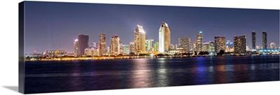 Skyline at Night, San Diego, California - Panoramic