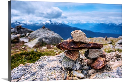 Stacked Stones Near High Note Trail On Whistler Mountain, British Columbia, Canada