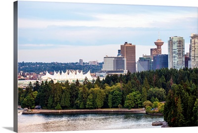 Stanley Park Seawall Path, Canada Place and Downtown Vancouver, British Columbia, Canada