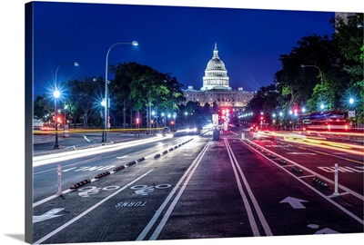 Streetview Of US Capitol Building At Night, Washington DC