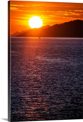 Sunset On Burrard Inlet, Vancouver, British Columbia, Canada