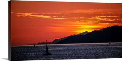 Sunset On Cypress Mountain With Sailboat, Vancouver, British Columbia, Canada