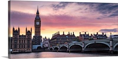 Sunset Over Big Ben, Westminster, London, England, UK - Panoramic