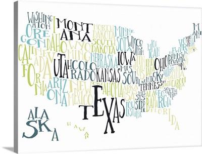 Tea Lime US Typography Map