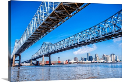 The Crescent City Connection and New Orleans Skyline Over the Mississippi Bridge