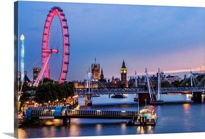The London Eye, Golden Jubilee Bridge, and River Thames at Dusk, London, England, UK