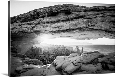 The Mesa Arch with bright sunlight in Canyonlands National Park, Utah
