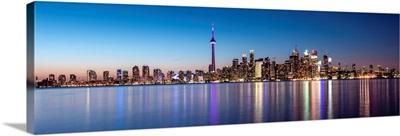 Toronto City Skyline with CN Tower, at Night