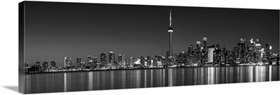 Toronto City Skyline with CN Tower, at Night, Black and White