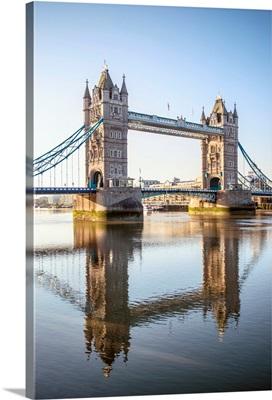 Tower Bridge Reflecting Into River Thames, London, England, UK