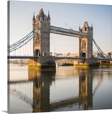 Tower Bridge Reflecting Into River Thames, London, England, UK - Square