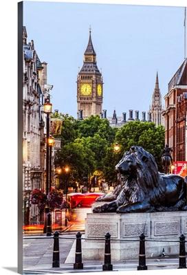 Trafalgar Square and Big Ben, London, England, UK