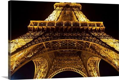 Underneath the Eiffel Tower at Night