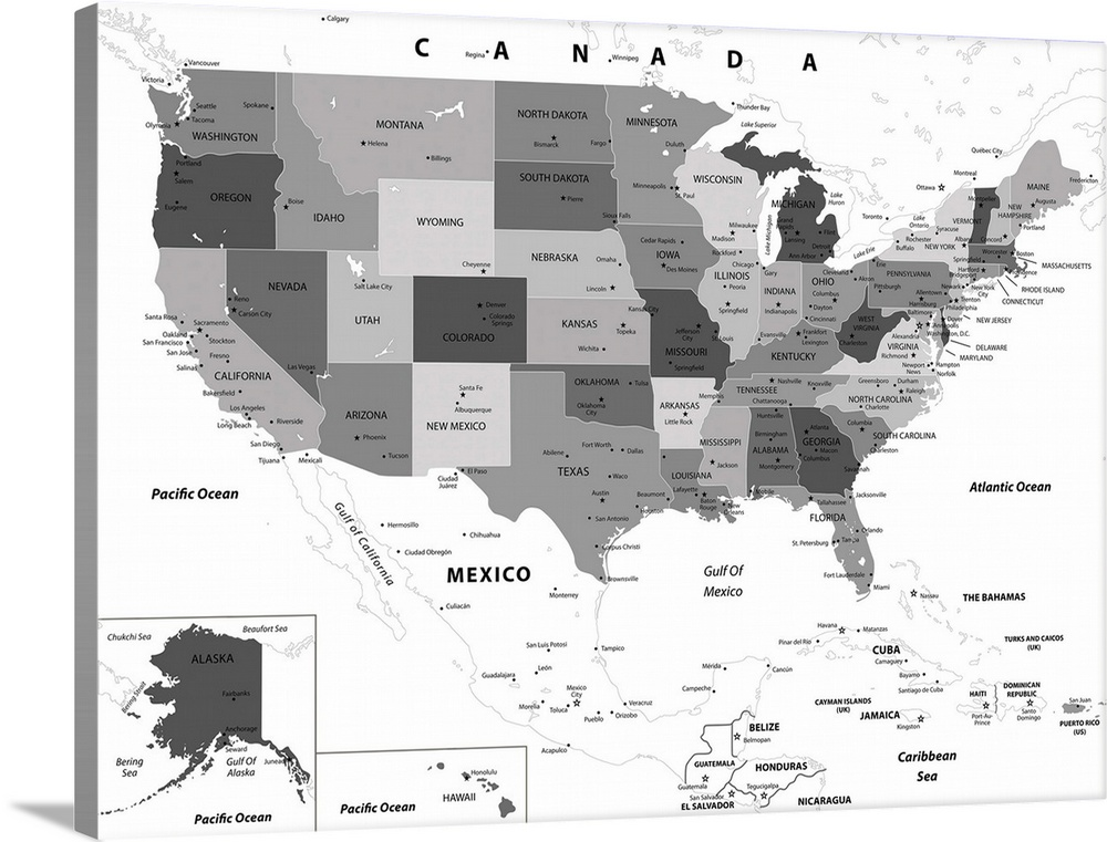 US Map - Black and White, Modern Text