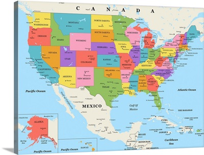 US Map - Color, Classic Text
