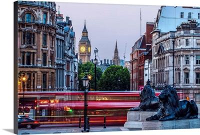 View of Big Ben From Trafalgar Square, London, England