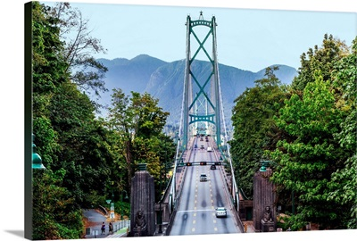 View Of Lions Gate Bridge From Stanley Park, Vancouver, British Columbia, Canada