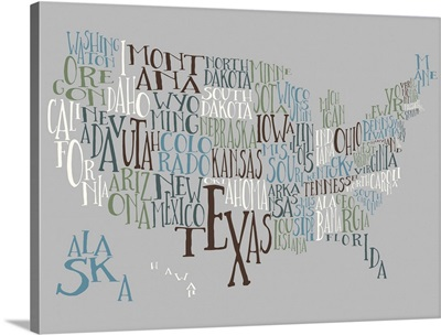 Vintage Chill US Typography Map