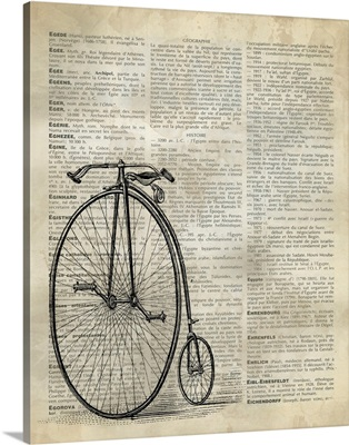 Vintage Dictionary Art: Antique Bike