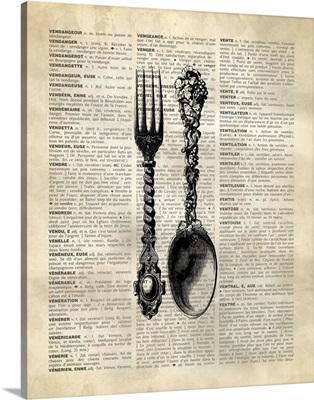 Vintage Dictionary Art: Spoon and Fork