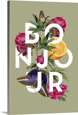 Vintage Floral Collage - Bonjour