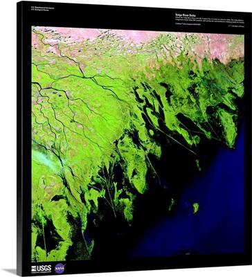 Volga River Delta - USGS Earth as Art