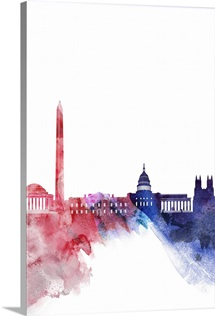 Washington DC Watercolor Cityscape - Red and Blue