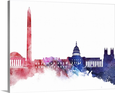 Washington DC Watercolor Cityscape - Red and Blue II