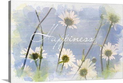 Watercolor Inspirational Poster:  A Happy Life consists in tranquility of mind