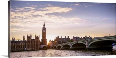 Westminster Bridge and Big Ben at Sunset Panoramic, Westminster, London, England