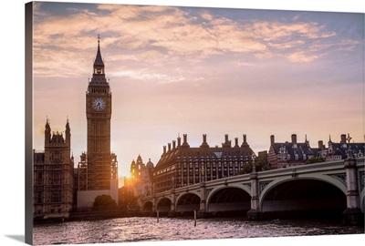 Westminster Bridge and Big Ben at Sunset, Westminster, London, England