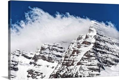 Wind-blown snow on the peaks of the Maroon Bells