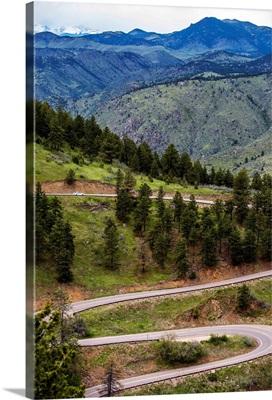 Winding Road under Colorado Mountains
