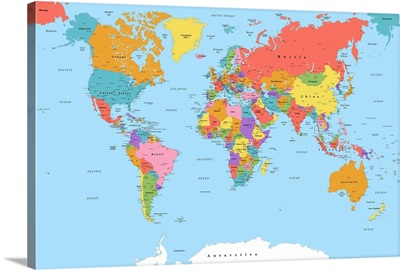 World Map - Color, Classic Text