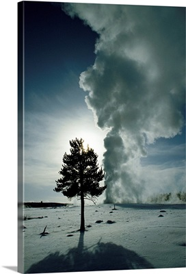 Old Faithful geyser erupting in winter, Yellowstone National Park, Wyoming