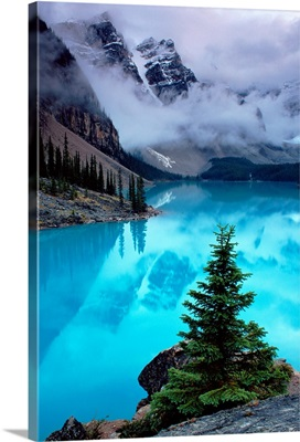 View of Moraine Lake with low-lying clouds at one end, Alberta, Canada