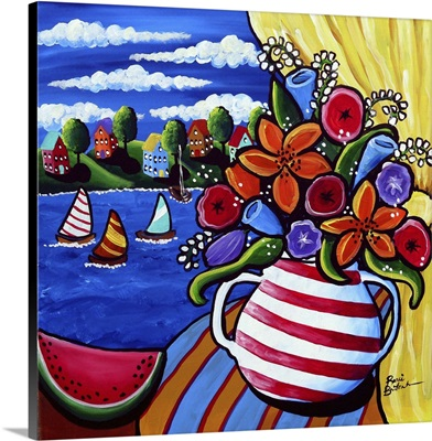 Summer Flower Watermelon and Sailboats