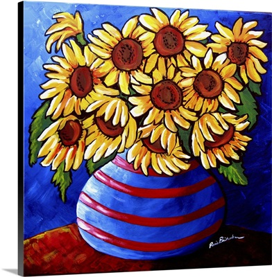 Sunflowers In Striped Vase