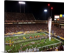 Arizona State Sun Devils run out onto the field before the game at Sun Devil Stadium
