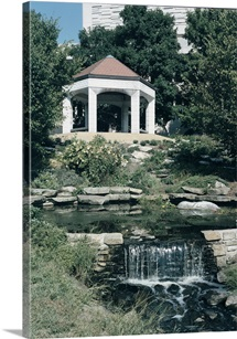 Indiana University Photographs Gazebo and Waterfall on Campus