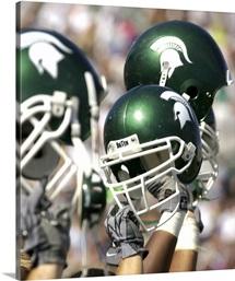 MSU Photographs MSU Football Helmets