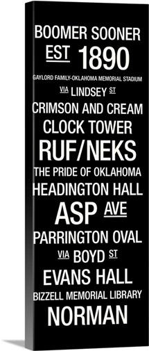 Oklahoma College Town Wall ARt