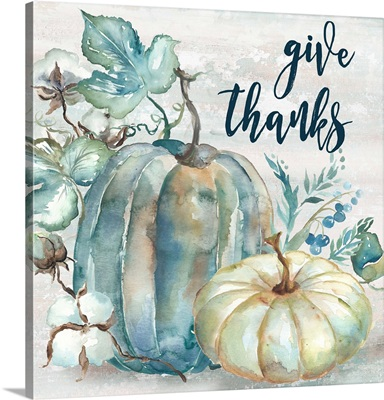 Blue Watercolor Harvest Square Give Thanks
