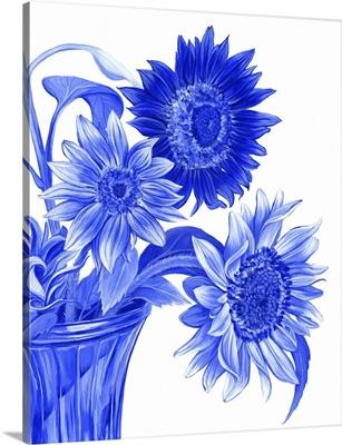 China Sunflowers Blue I