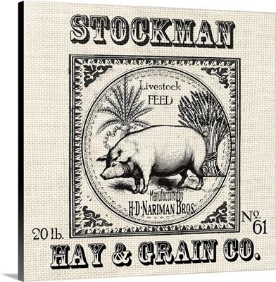Farmhouse Grain Sack Label Pig