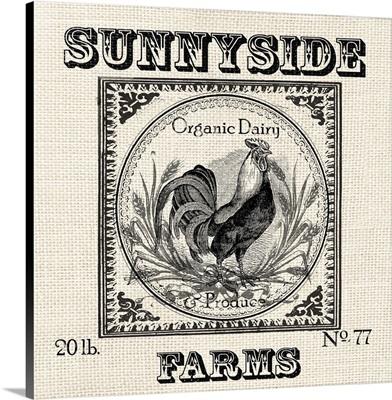 Farmhouse Grain Sack Label Rooster