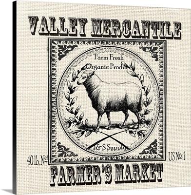 Farmhouse Grain Sack Label Sheep