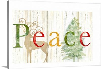 Peace Whitewash Wood sign